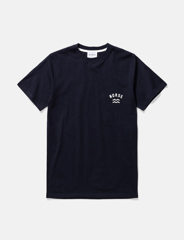 Norse Projects Niels Ivy Wave-Logo-T-Shirt - Dark Navy Blau