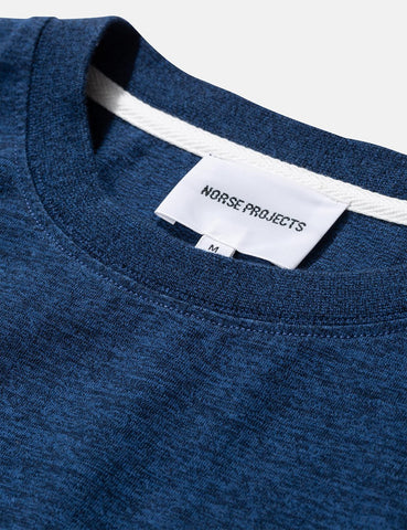 Norse Projects Niels Organic Mouline T-Shirt - Indigo Blue