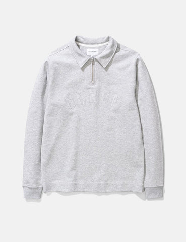 Norse Projects Jorn Half Zip Sweatshirt - Hellgrau Melange