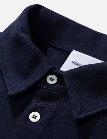 Norse Projects Ruben Langarm-Polo-T-Shirt - Dark Navy Blau