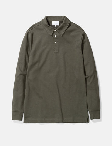 Norse Projects Ruben Langarm-Polo-Hemd (Baumwolle) - Ivy Green