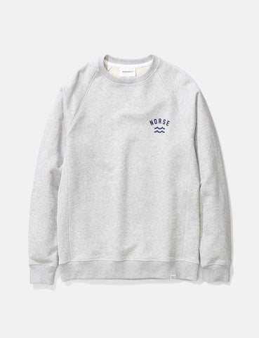 Norse Projects Ketel Ivy Wave-Logo Sweatshirt - Hellgrau Melange