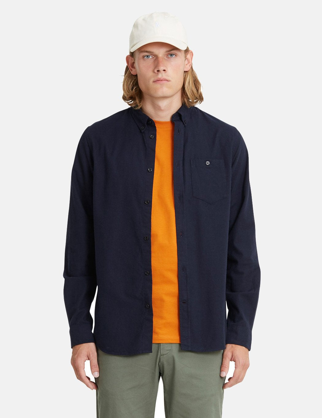 Norse Projects Anton Brushed Flanellhemd - Dark Navy