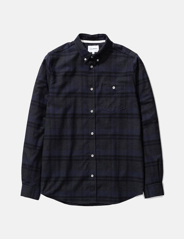 Norse Projects Anton Brushed Flanellhemd (Check) - Dark Navy
