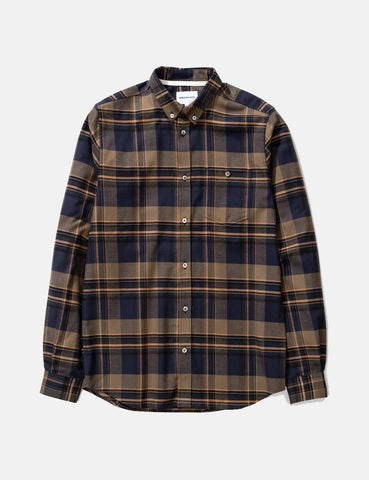 Norse Projects Anton Brushed Flanellhemd (Check) - Ivy Green