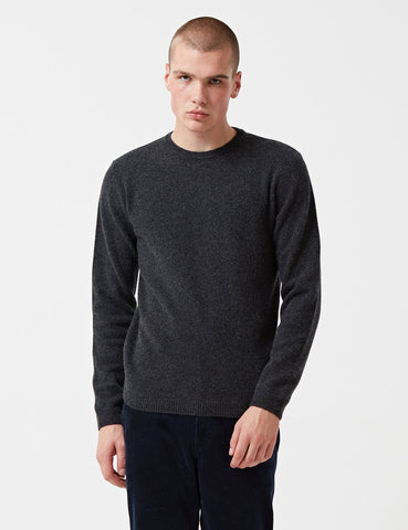 Norse Projects Sigfred Knit Sweatshirt (Wolle) - Charcoal Grey Melange