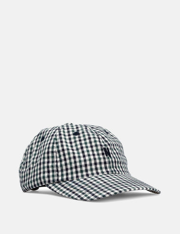 Norse Projects Gingham Sport Cap - Dark Navy Blau