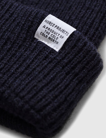 Norse Projects Strickmütze Brushed (Wolle) - Marine-Blau