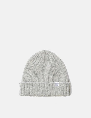 Norse Projects Rib Beanie Hat Brushed (Lambswool) - Glacier Gray