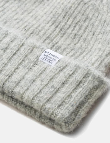 Norse Projects Rib Beanie Hat Brushed (Wolle) - Glacier Gray