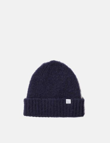 Norse Projects Rib Beanie Hat Brushed (Lambswool) - Dark Navy Blau