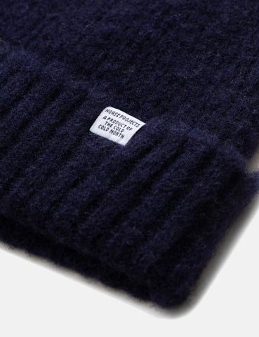 Norse Projects Rib Beanie Hat Brushed (Wolle) - Dark Navy Blau