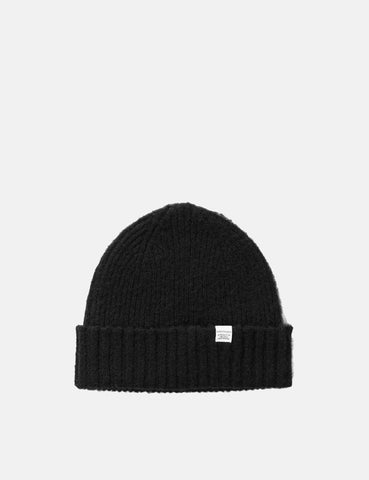 Norse Projects Rib Beanie Hat Brushed (Wolle) - Schwarz