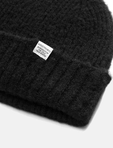Norse Projects Rib Beanie Hat Brushed (Lambswool) - Schwarz