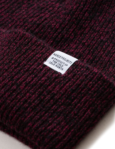 Norse Projects Twist Strickmütze (Lambswool) - Mulberry Red Melange
