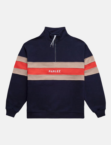 Parlez Tether Quarter Zip Sweatshirt - Marine-Blau