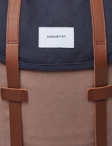 Sandqvist Stig Rucksack (Canvas) - Marine-Blau / Earth Brown