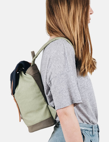 Sandqvist Stig Mini Backpack (Canvas) - Blue/Sage/Grey