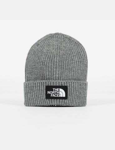 North Face Logo Box Cuff Beanie Hat - Medium Grey Heather