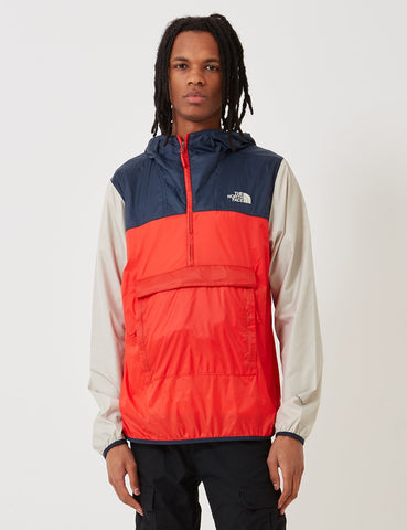 North Face Fanorak Pullover Jacke - Fiery Red / Urban Navy / PYTB