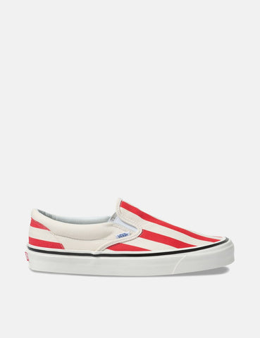 Vans Classic Slip-On 98 DX (Canvas) - Weiß / OG Rot / Big Stripes