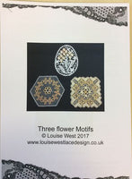Bobbin lace patterns for three flower motifs