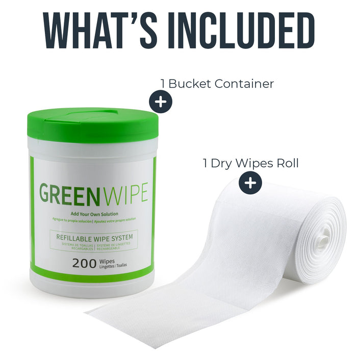 "GREENWIPE | DRY Wipe System for Solvents 5"" x 8"" x 200 Sheets 