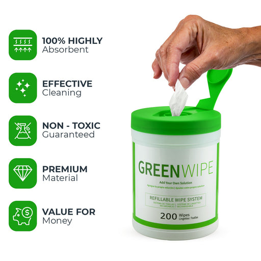 "GreenWipe| DRY Wipe System for Solvents 5"" x 8"" x 200 Sheets 