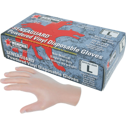 Sensaguard Large Powdered Disposable Vinyl Gloves 100/Box 5020