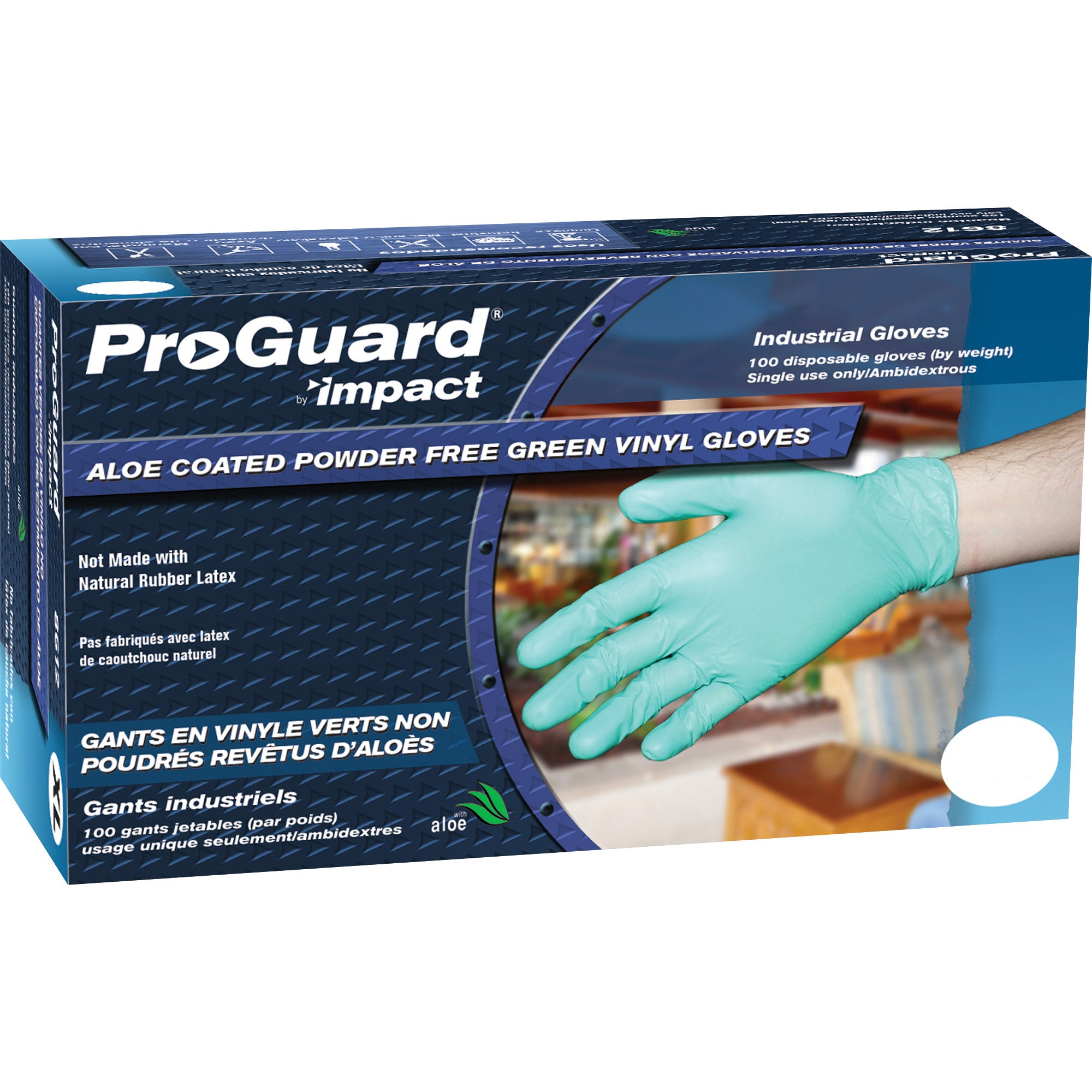 ProGuard Aloe Coated Large Vinyl Gloves 100/Box 8612