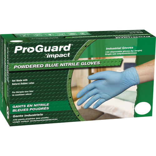 Proguard Large Disposable Nitrile Blue Gloves Powdered 100/Box 8646