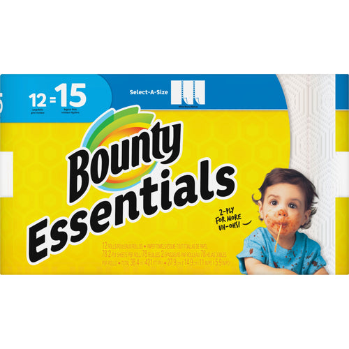 Bounty Essentials Paper Roll Towels 12 Pack Select-a-Size