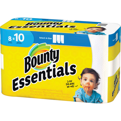 Bounty Essentials Paper Roll Towels 8 Pack Select-a-Size