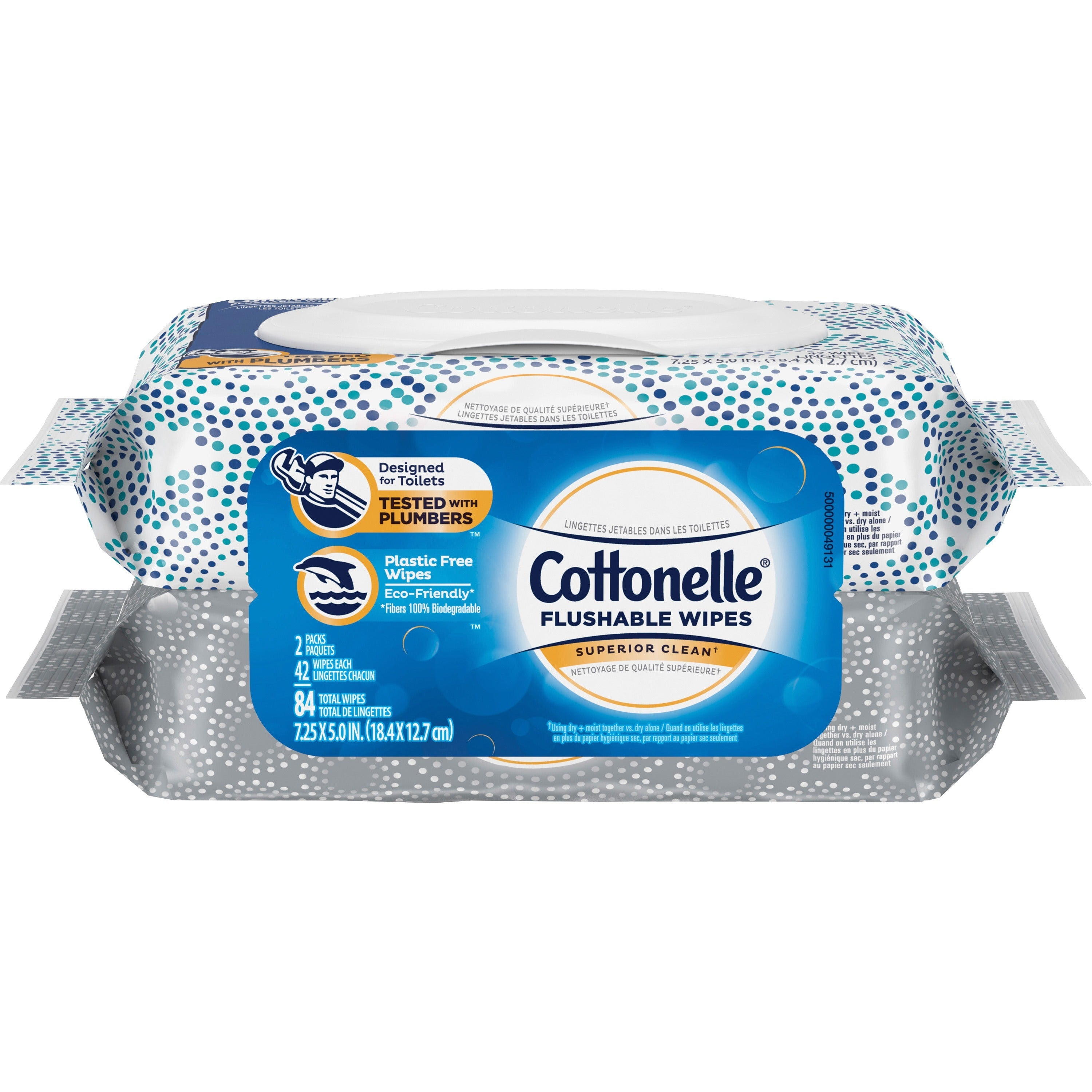 Cottonelle Flushable Wet Wipes Flip-Top Pack 84ct- 2 Pouches (42 each)