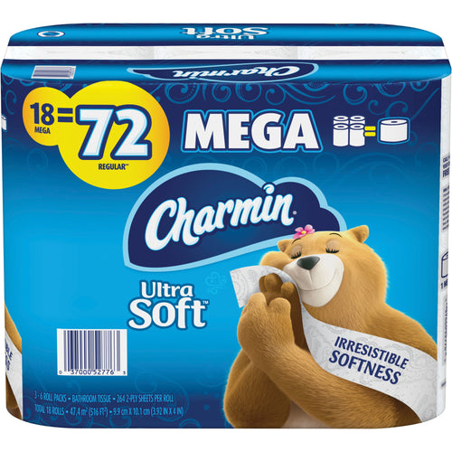 Charmin Ultra Soft Bath Tissue Mega Toilet Paper 18/pack