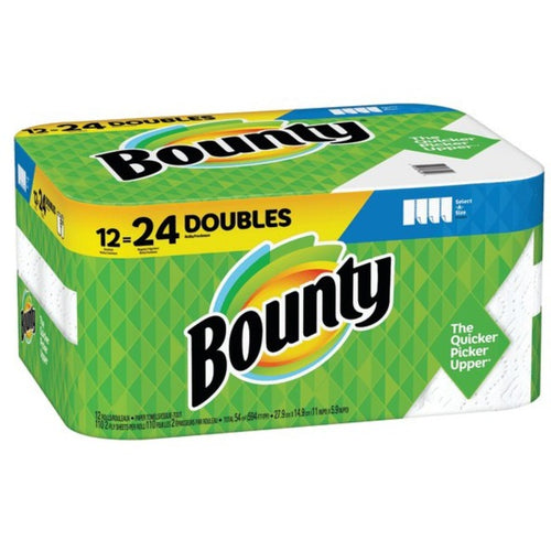 Bounty Paper Roll Towels DOUBLE Select-a-Size 12 Pack