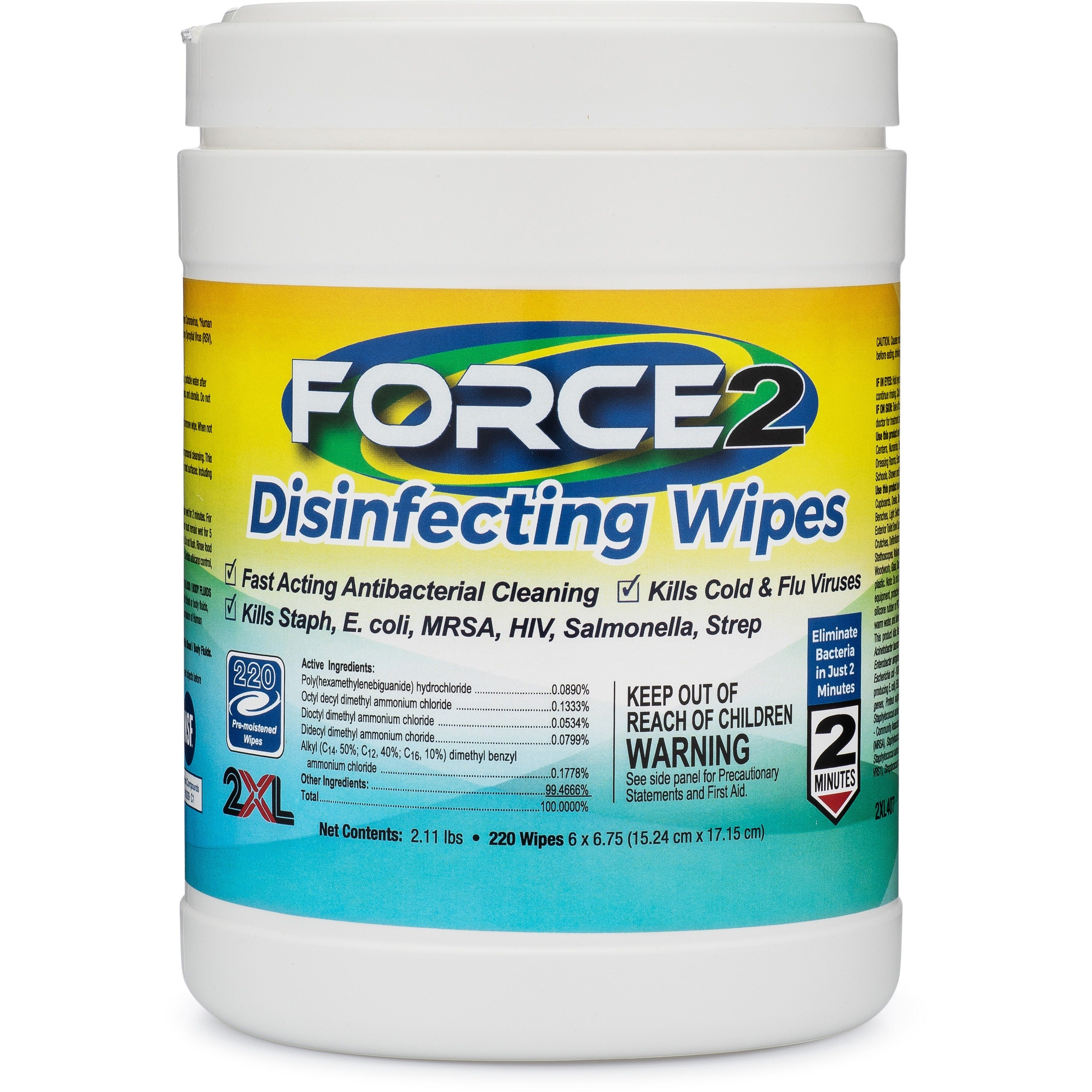 2XL FORCE2 Disinfecting Wipes 220/Can