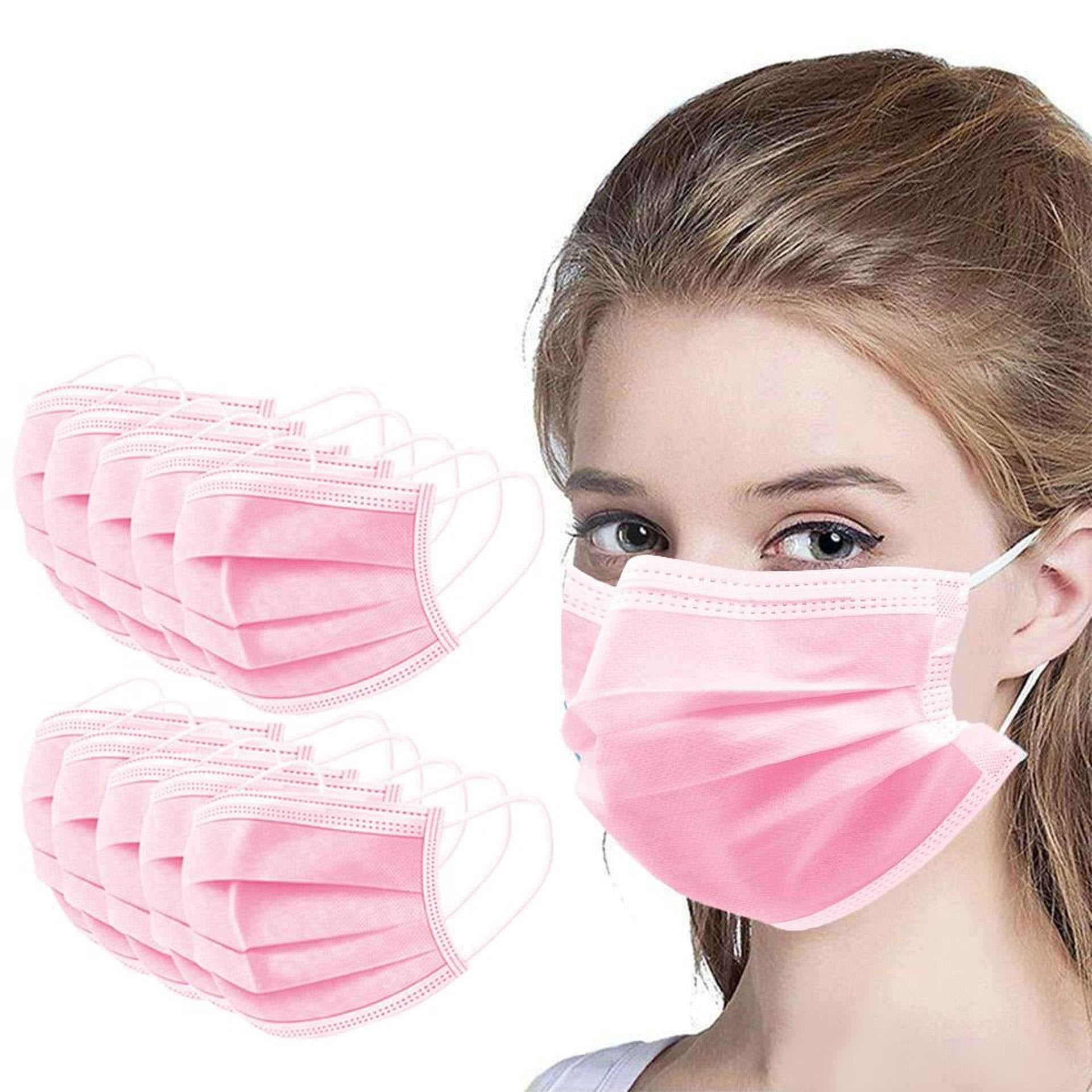Pink Disposable Face Masks 50ct