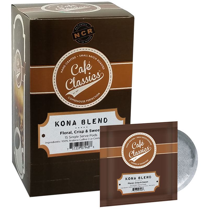 Kona Blend Coffee, Soft Coffee Pod, Medium Roast | Cafe Classics