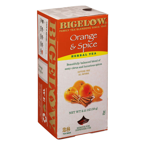 Orange & Spice Herbal Tea, 28 Tea Bags, Caffeine Free, All Natural | Bigelow Tea
