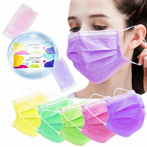 Multicolor Disposable Face Masks 50ct (5 Colors)