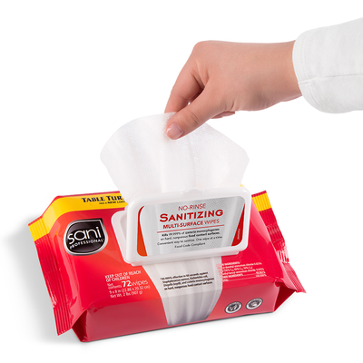 Sani Pro Table Turners No-Rinse Sanitizing Multi-Surface Wipes 72/Pack