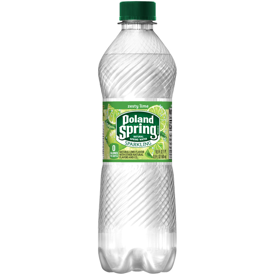 Poland Spring Sparkling Water Zesty Lime 24/16.9oz bottles