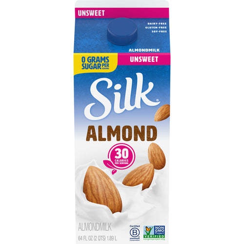 Silk Unsweetened Almond Milk - Half Gallon Fresh - 64oz
