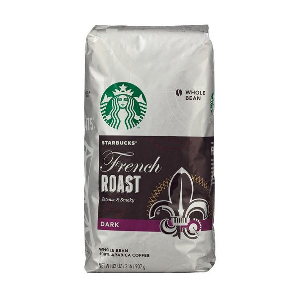 STARBUCKS FRENCH ROAST WHOLE BEAN COFFEE - 1lb