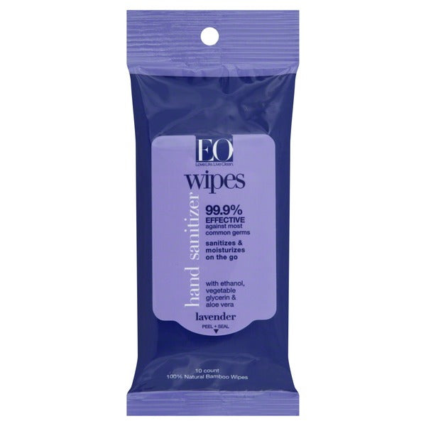 EO Resealable Hand Sanitizer Wipes Lavender 10ct Pack