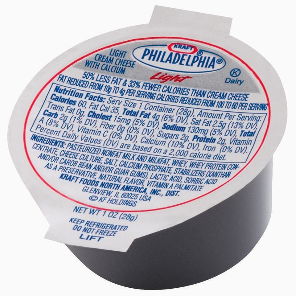 Philadelphia Light Cream Cheese Cups - 100/1oz Cups