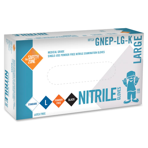 Safety Zone Large Disposable Nitrile Black Exam Gloves 100/Box GNEP-LG-K