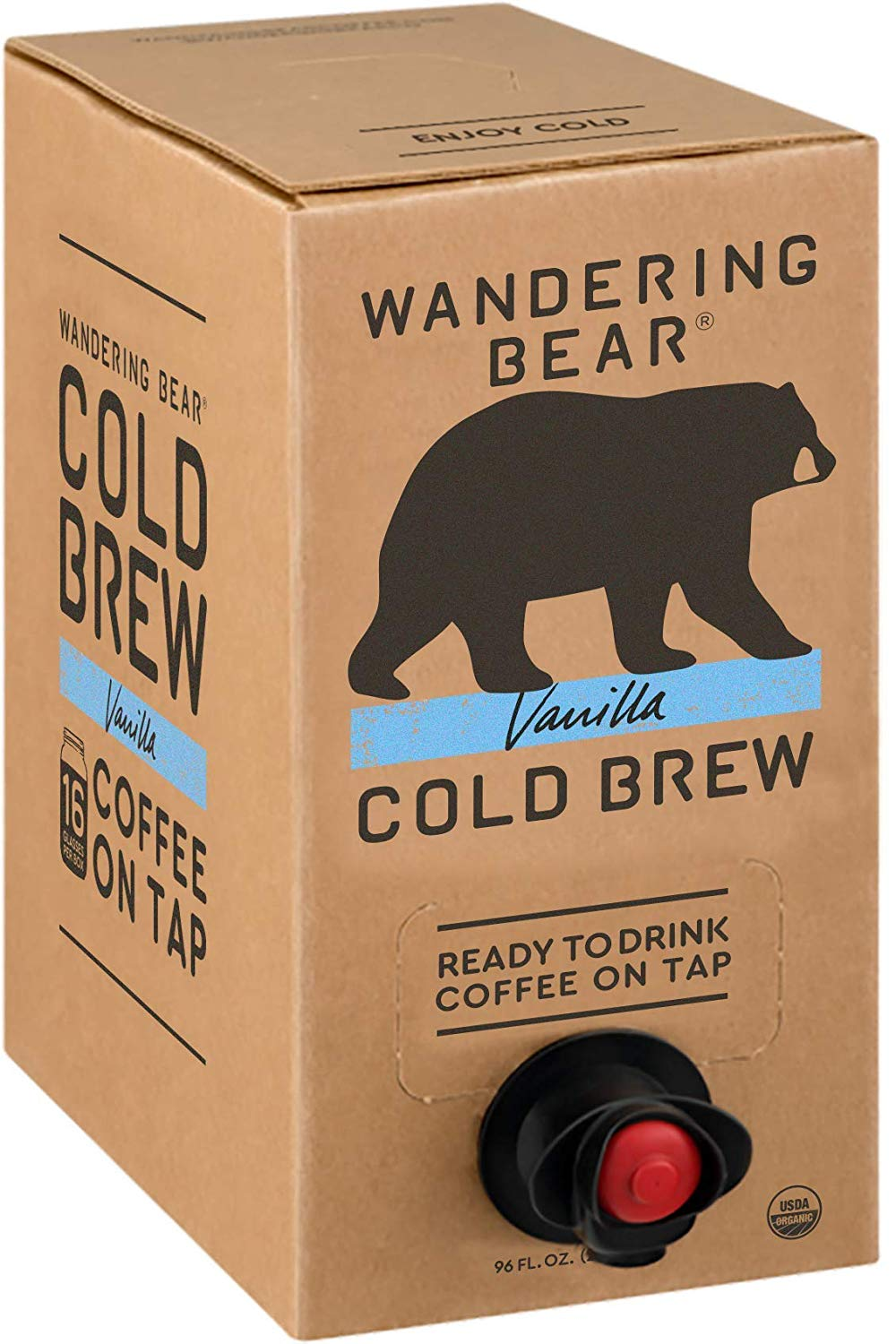 Wandering Bear Vanilla Cold Brew Coffee 96oz Fridge Box