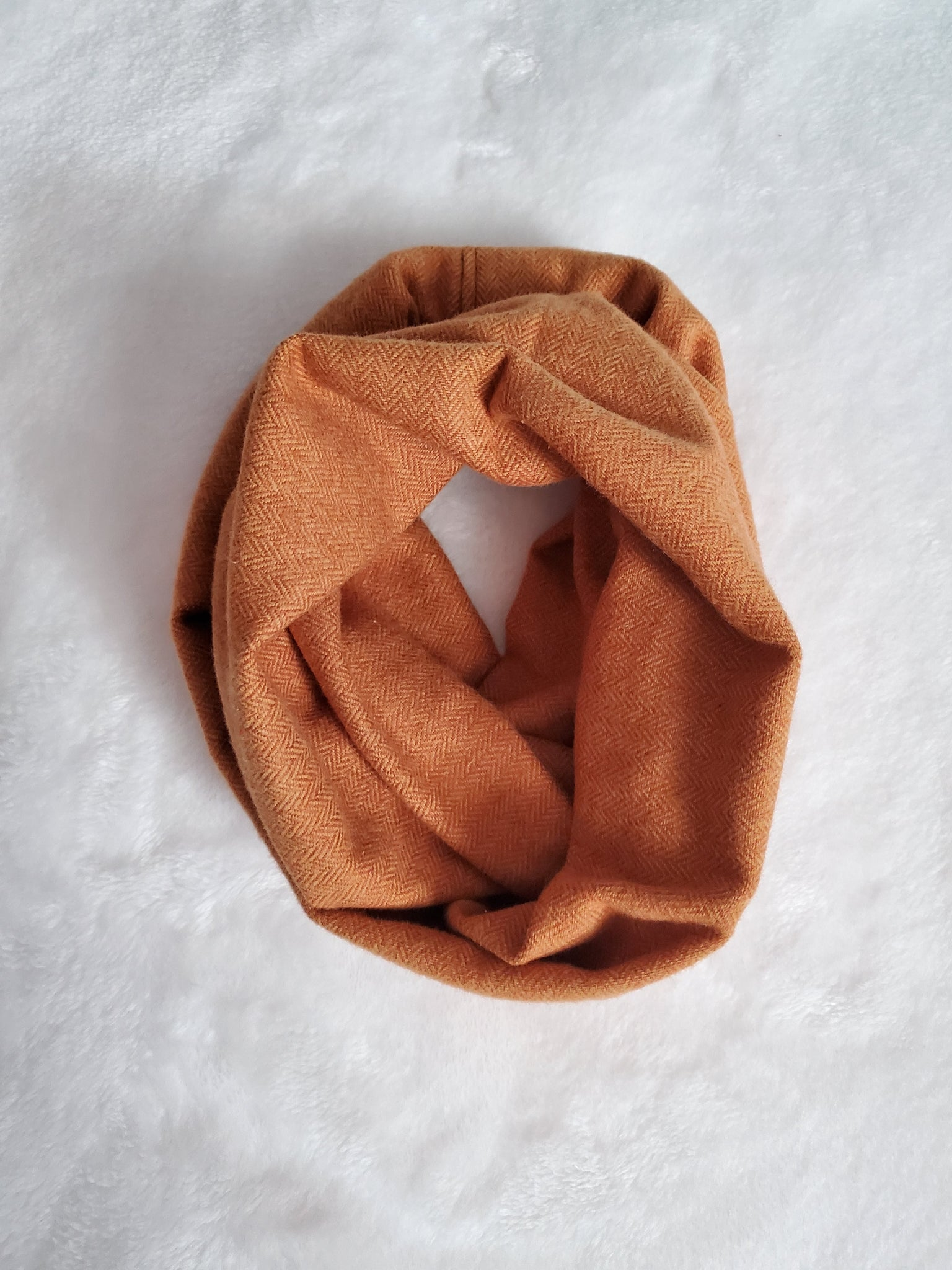 Rust and gold heringbone toddler infinity scarf